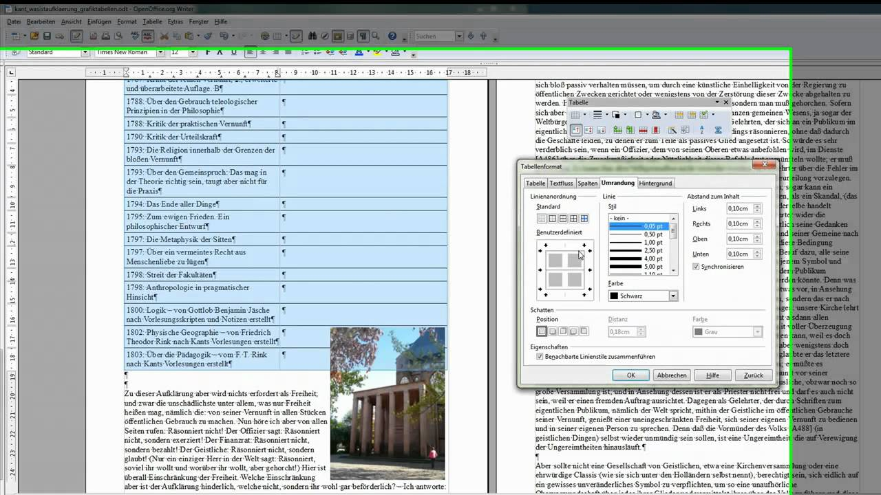 35 Tabellen Formatieren Openoffice Libreoffice Writer Youtube