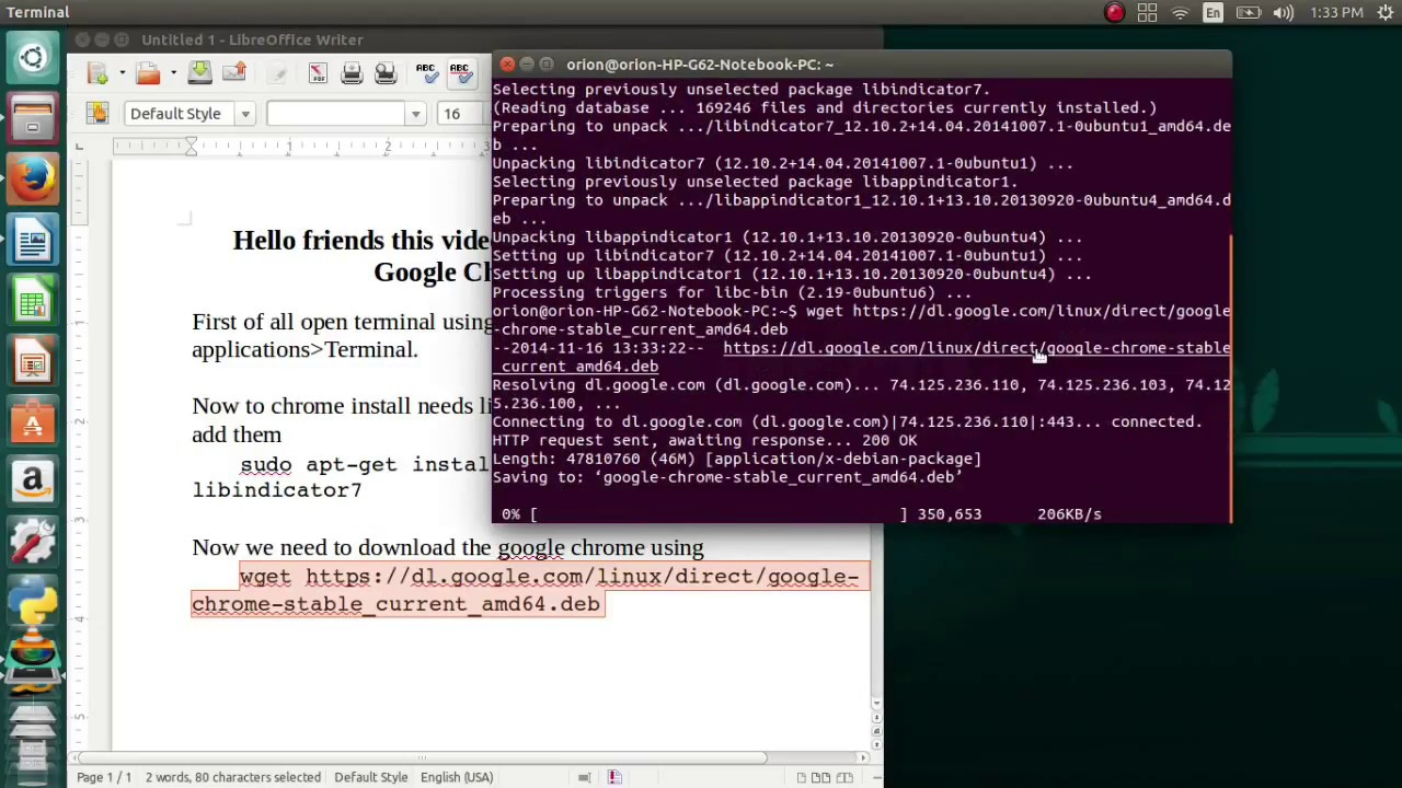 How to install google chrome using terminal in Ubuntu