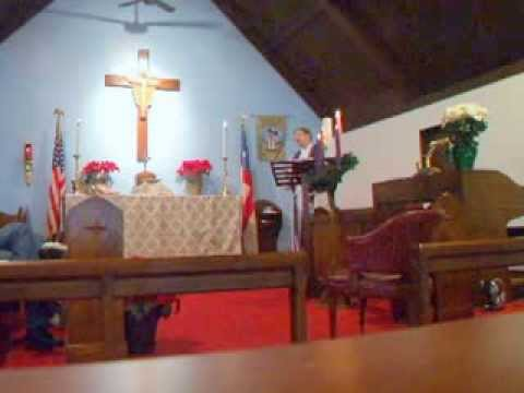 A cozy Winter Storm Service at St John's Church, Charlotte, Michigan, USA.