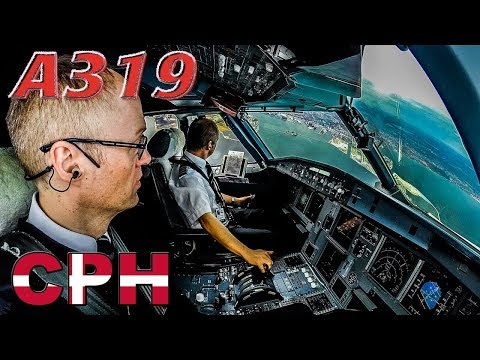 Piloting the AIRBUS A319 out of Copenhagen