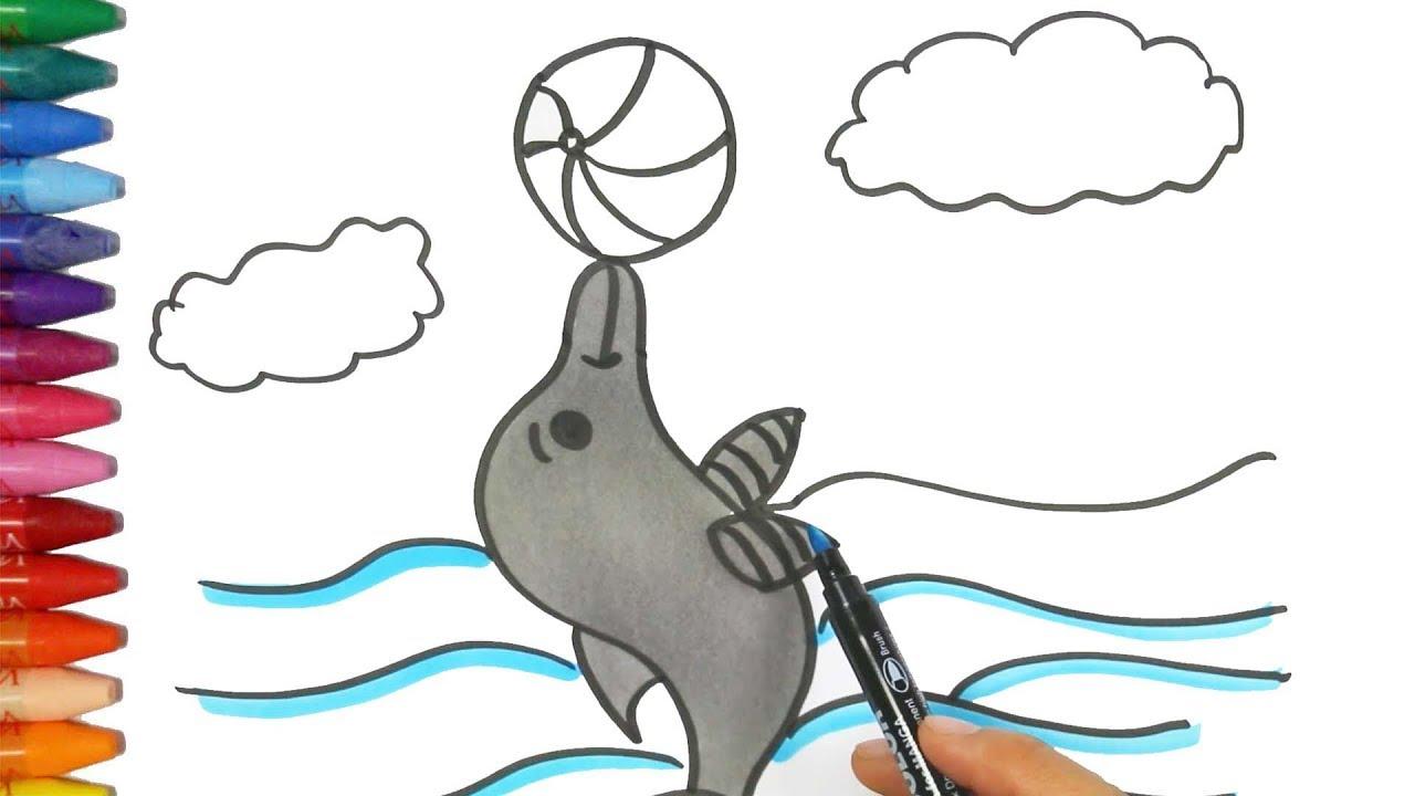 Cómo Dibujar y Colorear delfín y árbol de manzana | Dibujos Para ...