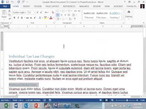 Converting Word Documents To PowerPoint Presentations