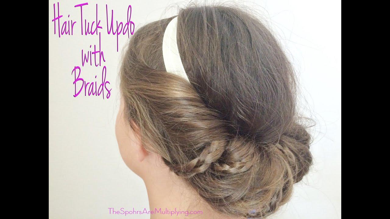 Easy Hair Tuck Updo With Braids Hair Tutorial YouTube