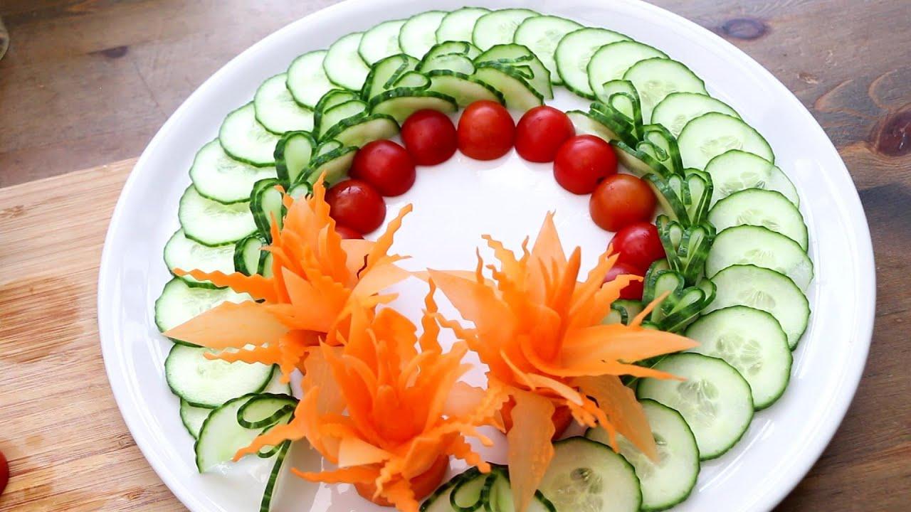 Vegetable Carving Garnish - Super Salad Decoration Ideas