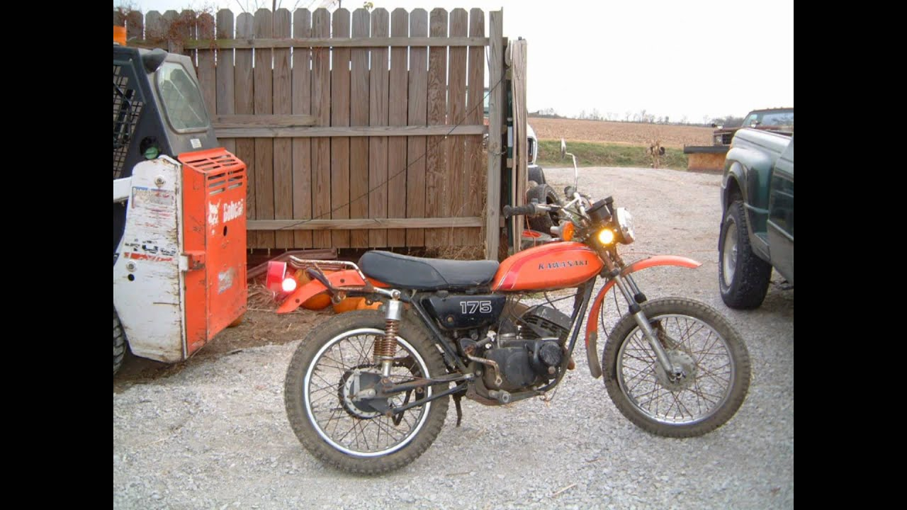 For sale 1973 Kawasaki 175 dirt bike motorcycle - YouTube