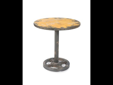 mod home collection 30 inch loft group distressed wheel table yellow