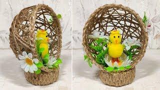 Поделки из джута на пасху своими руками. Цыплёнок в гнезде, сувенир в подарок.