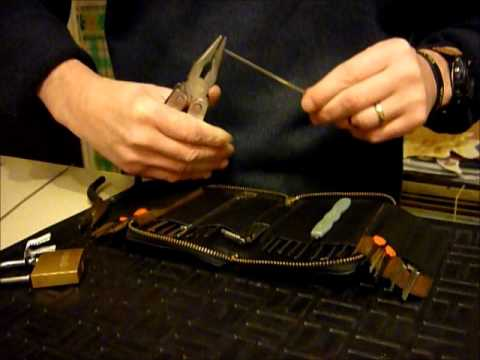 Lock Picking TUTORIAL On Making Your Own Tension Wrench FROM CAR WIPER BLADES www.uklocksport.co.uk