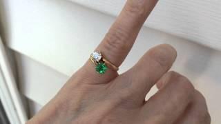 Tiffany & Co 1920s Emerald & Diamond Bypass Toi et Moi Ring 18k - 1080p Resolution