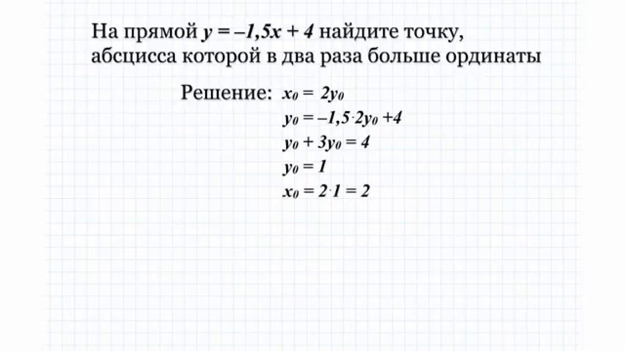 19.2 На прямой y= -1,5x+4 найдите точку, абсцисса которой в два раза больше ординаты.