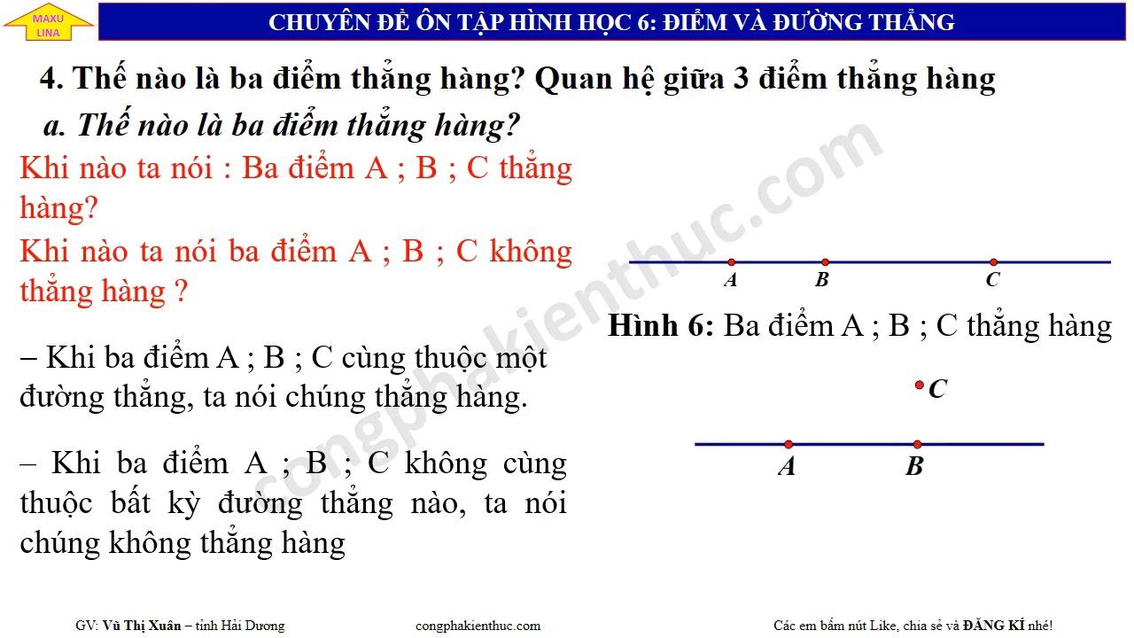 Toán 6 –  Chuyên đề: Điểm và đường thẳng – Points and lines