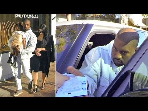 Kanye West Unfazed By Parking Citation While Shopping With Kim And Nori