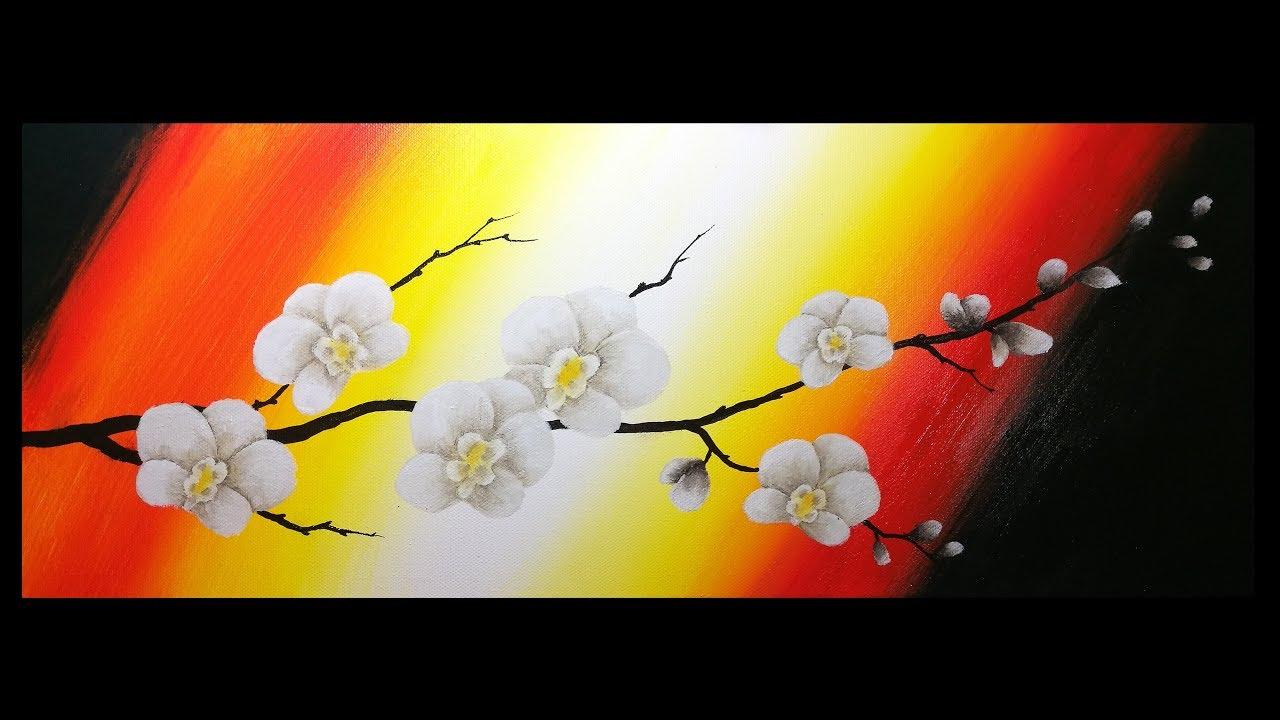 Orchidée Débutants Peinture Acrylique Facile Youtube