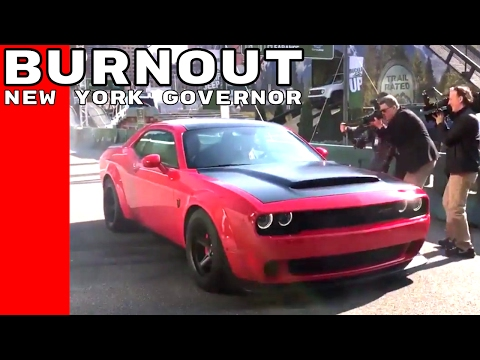New York Governor Andrew Cuomo Dodge Demon Burnout