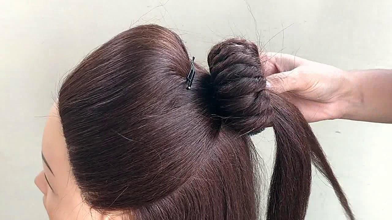 Easy Half Bun Hairstyles For Wedding Function Party Easy Hairstyles For Medium Hair Youtube
