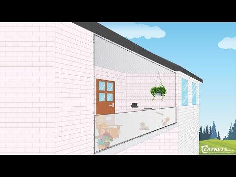 Balcony D.I.Y. Cat Netting Enclosure Animation | Catnets.com.au