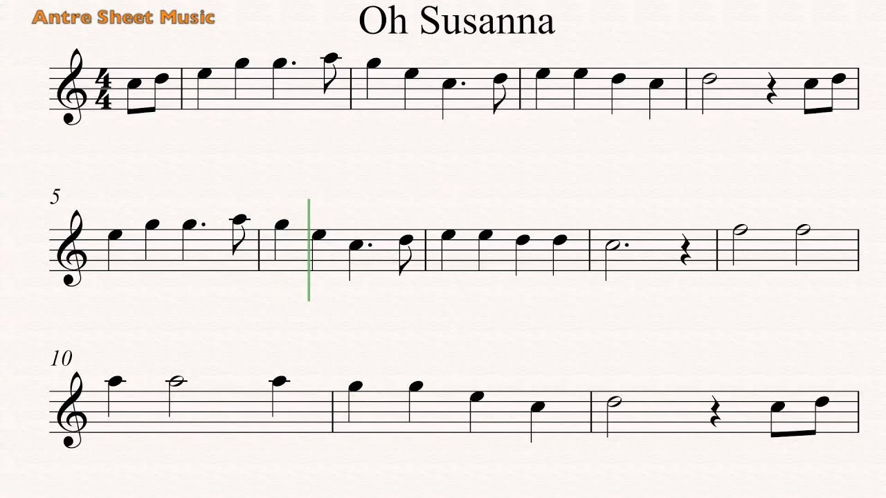 Oh Susanna- Flute sheet music - YouTube