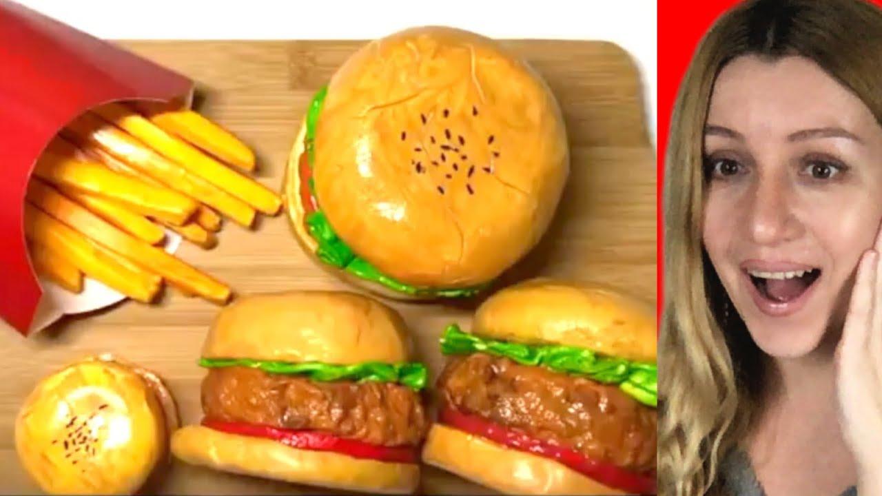 Clay Cracking ASMR - Realistic Clay Food !