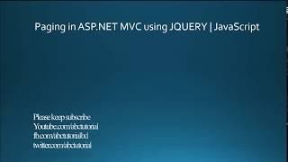 Paging in ASP.NET MVC | Using Jquery Ajax