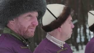 Конная стрельба из лука. Horseback archery at winter