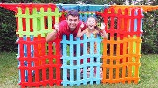 Öykü Çitlerden  Ev Yaptı - Öykü and Dad Pretend Play With fence Playhous for kids Oyuncak Avı