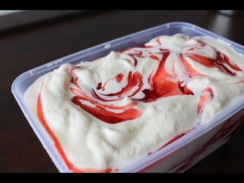 How To Make Vanilla Ice Cream With Strawberry Swirl - By One Kitchen ...