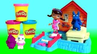 Massinhas Play Doh Clínica da Doutora Brinquedos com Felpudo o Dragão de Pelúcia Azul em Portugues