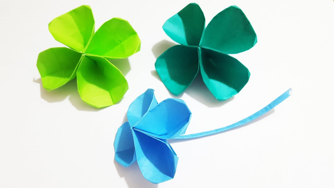 3d origami 4 leaf clover origami easy video tutorial