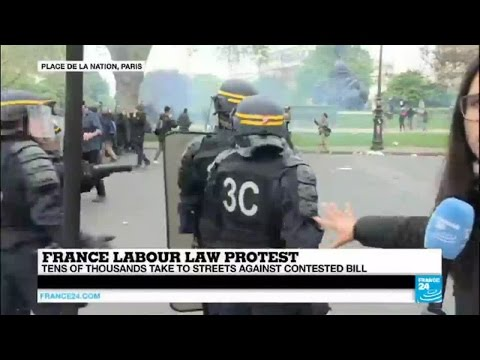 "France: dozens of police injured, scores arrested after ""anarchists kidnap labour law protests"""