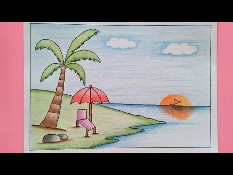 How To Draw Scenery With Colour Pencil Youtube