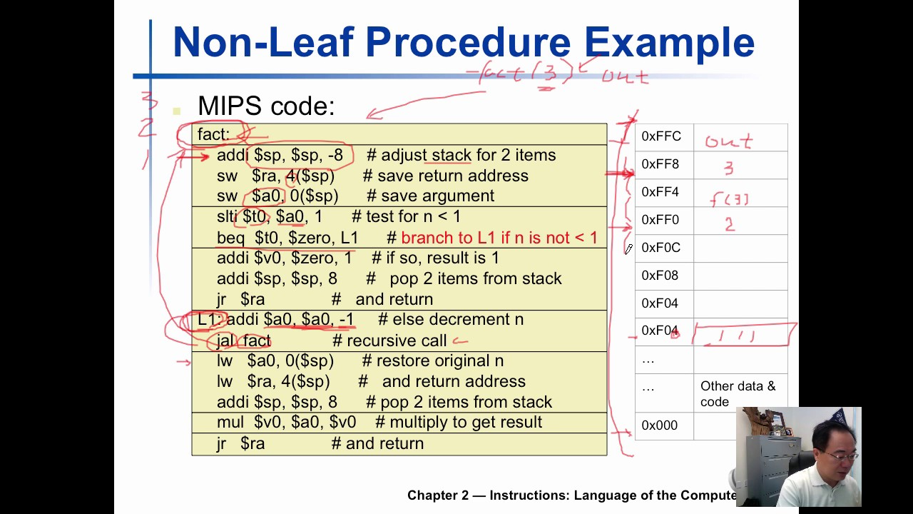 cst 337 mips non-leaf procedure call using stack