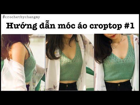 DIY Crochet croptop tutorial | ChangMy | Hướng dẫn học móc len mẫu áo 2 dây croptop theo số đo