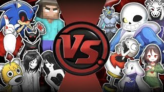 UNDERTALE vs CREEPYPASTA! TOTAL WAR! Cartoon Fight Club Episode 284