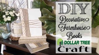 DIY Decorative Farmhouse Books | Dollar Tree Craft