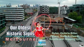 Historic Signs in Melbourne by Drone - Skipping Girl, Nylex, Pelaco - Victoria, Australia