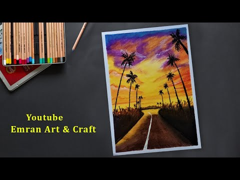Drawing for Beginners with Oil Pastels Landscape Road Scenery Step by Step
