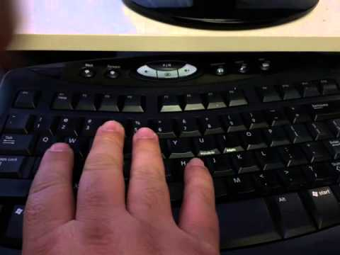 Fast hand and finger movements on computer keyboard.
