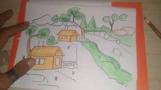 How to draw / beautiful scenery / cara menggambar pemandangan,