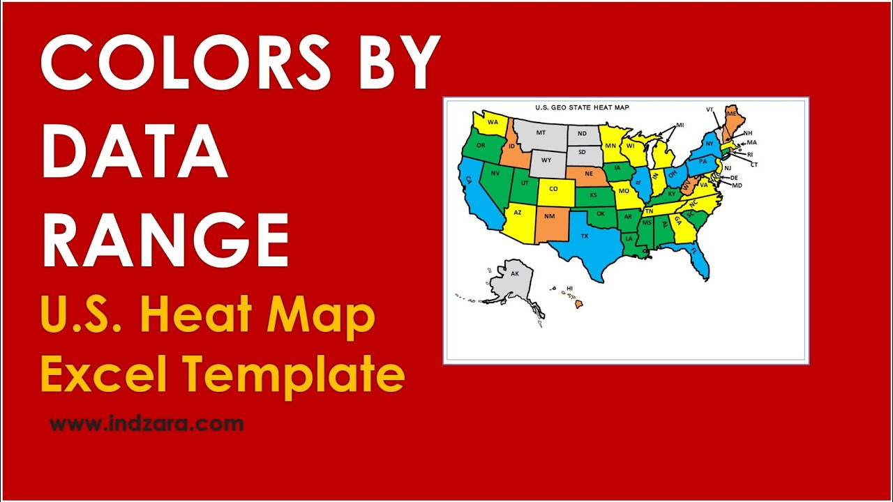 U.S. Geographic State Heat Map - Excel Template - Changing Colors By ...