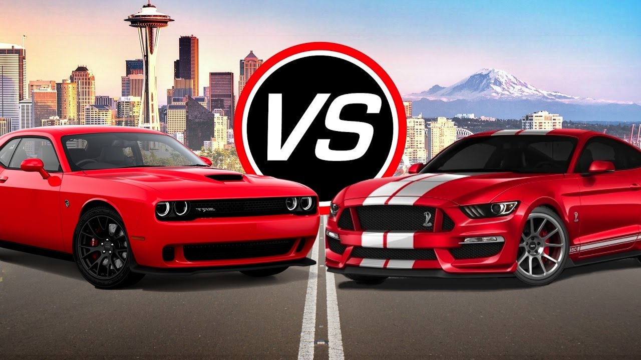 2016 dodge challenger srt hellcat vs ford mustang shelby gt350 spec comparison