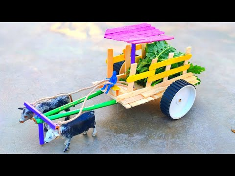 DIY Woodworking Ideas - Making Cow Bullock Cart From Wooden Sticks | cow shed