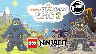 LEGO Ninjago MOVIE Draw A Stickman: EPIC 2 - Drawn Below Gameplay - Jay Save Cole Story Adventure