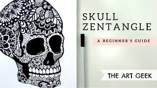 How to Draw ll SKULL ZENTANGLE ll Day of the Dead
