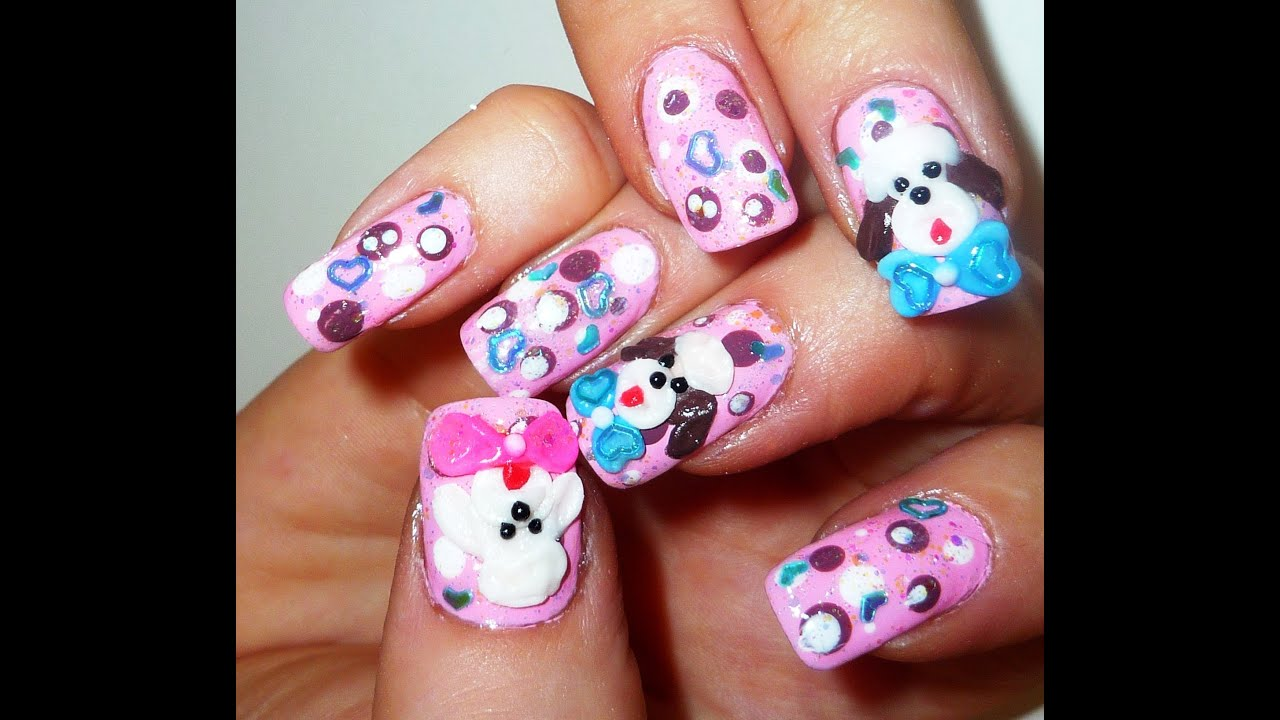 3d poodle dog nail design youtube prinsesfo Image collections