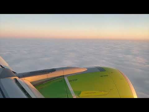 S7 Airlines landing in Novosibirsk during winter in Siberia, Russia (Timelapse)