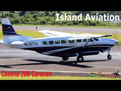 Private Cessna 208 Caravan (N20711) departing St. Kitts Airport !!