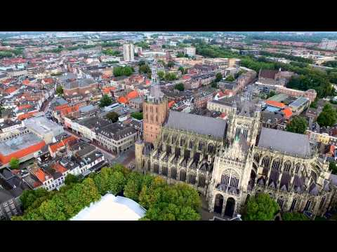 Birds eye view over Den Bosch by Drone in 4K