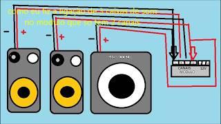 como fazer a ligação de 3 caixas de som em um modulo de 2 canais