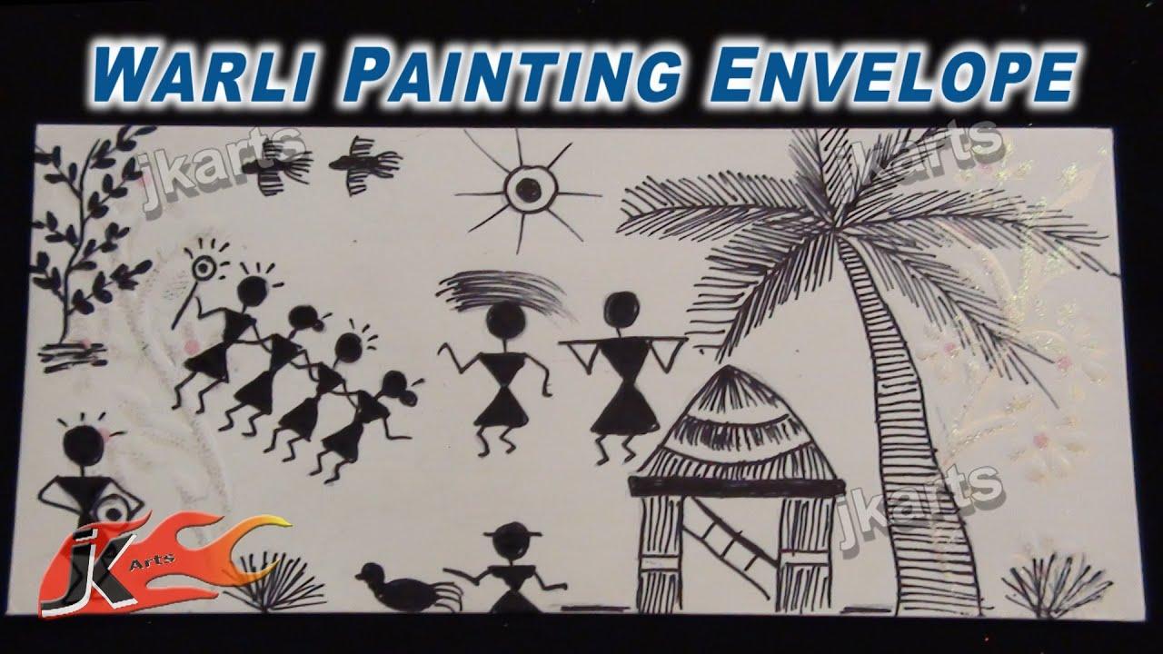 Warli Painting (Tribal Art / Warli Art ) on Envelope - JK ...