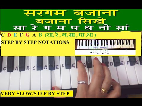 Sa Re Ga Ma on Harmonium|Keyboard Tutorial|Piano|Sargam Tutorial|Easy slow notes